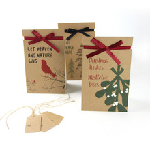 Vintage Gift Paper Bag Christmas With Printed Tree Mistletoe Bird Bags