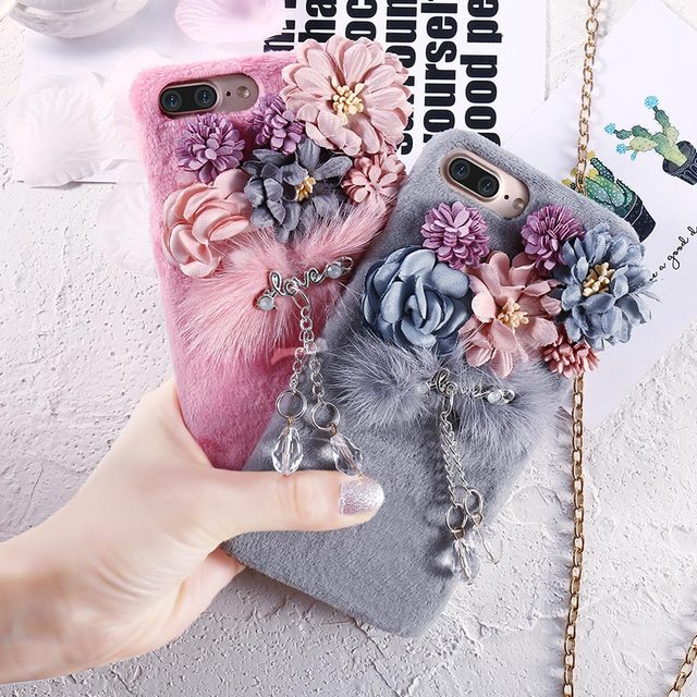new arrival 01d89 788a0 US $5.99 40% OFF KISSCASE Warm Fur Flush Case For iPhone 6 6s 7 Plus Cute  Girly Korean Flower Soft Phone Back Cover For iPhone 7 6 6S Plus Capa -in  ...