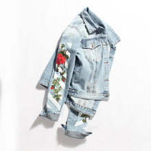 Denim jacket female spring 2018 new flower embroidery all-match BF profile thin water