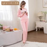 Qianxiu Spring & autumn women pajama sets long sleeve pantsuits sleepwear Contracted natural sleep & lounge cotton pyjama femme