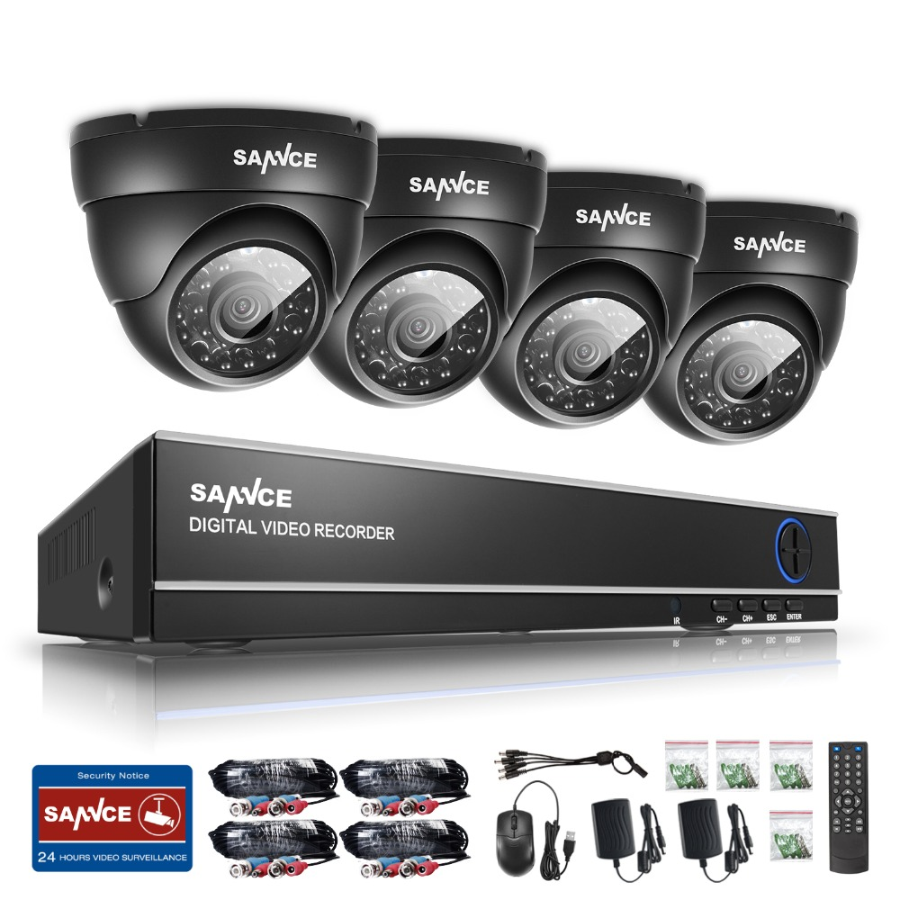 SANNCE 4CH HD 1080N DVR 720P Security camera CCTV system 4pcs 720P CCTV Cameras P2P Outdoor Waterproof Video Surveillance kit sannce ahd 4ch cctv system 720p hdmi dvr kit 1200tvl outdoor security waterproof night vision 4 cameras surveillance kits