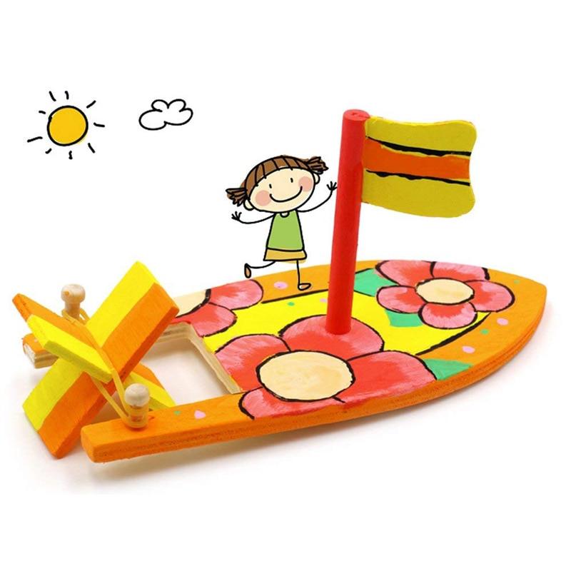 Ship Model Wooden Sailboat Assembling Model Building Kits Toys Sailing Children's Coloring DIY Boats Kids Toys Brain Development