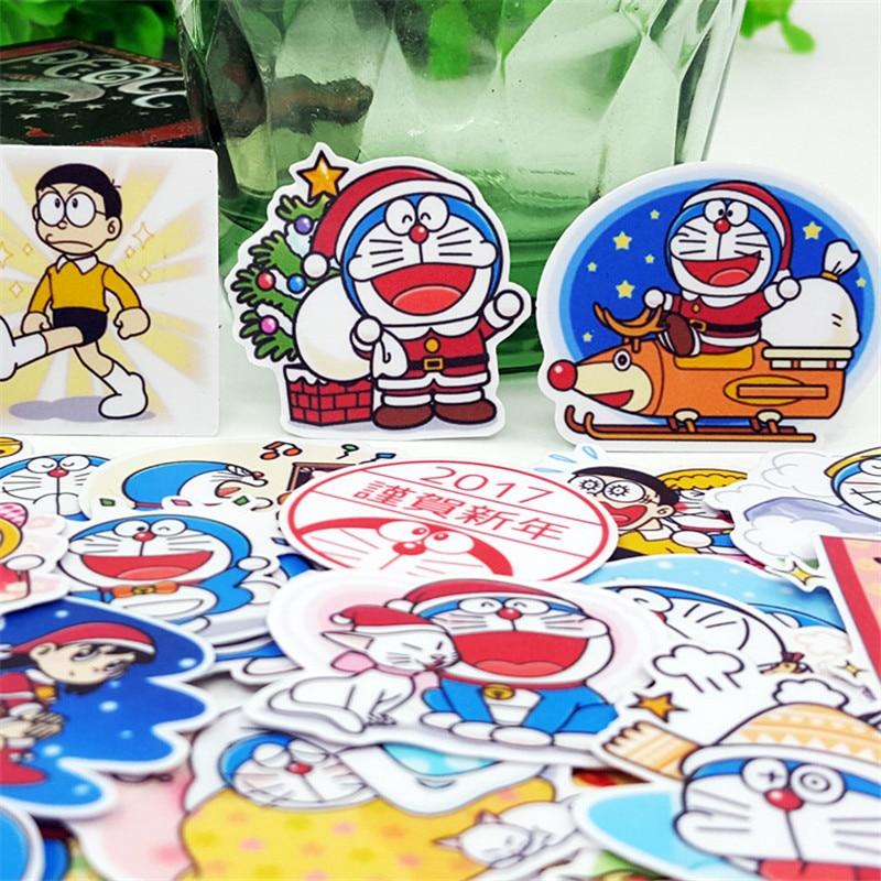 40 Stks/pak Papier Cartoon Blauwe Robot Fun Sticker Speelgoed De Bagage Stickers Voor Moto Auto & Koffer Cool Fashion Laptop Stickers Prijs Blijft Stabiel