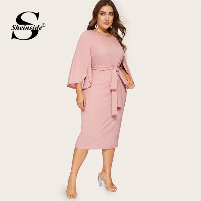 Sheinside Plus Size Split Sleeve Midi Dress Women 2019 Spring Elegant Solid Zip Back Pencil Dress Ladies Belted Trim Dresses 4