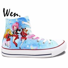 Wen Color Anime Hand Painted Shoes Shugo Chara Woman s High Top Canvas Sneakers for Women