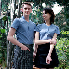 (5 get 10% off,10 get apron)Man/woman coffee shop restaurant hotel bakery pizza shop waiter shirt uniform work ware work clothes