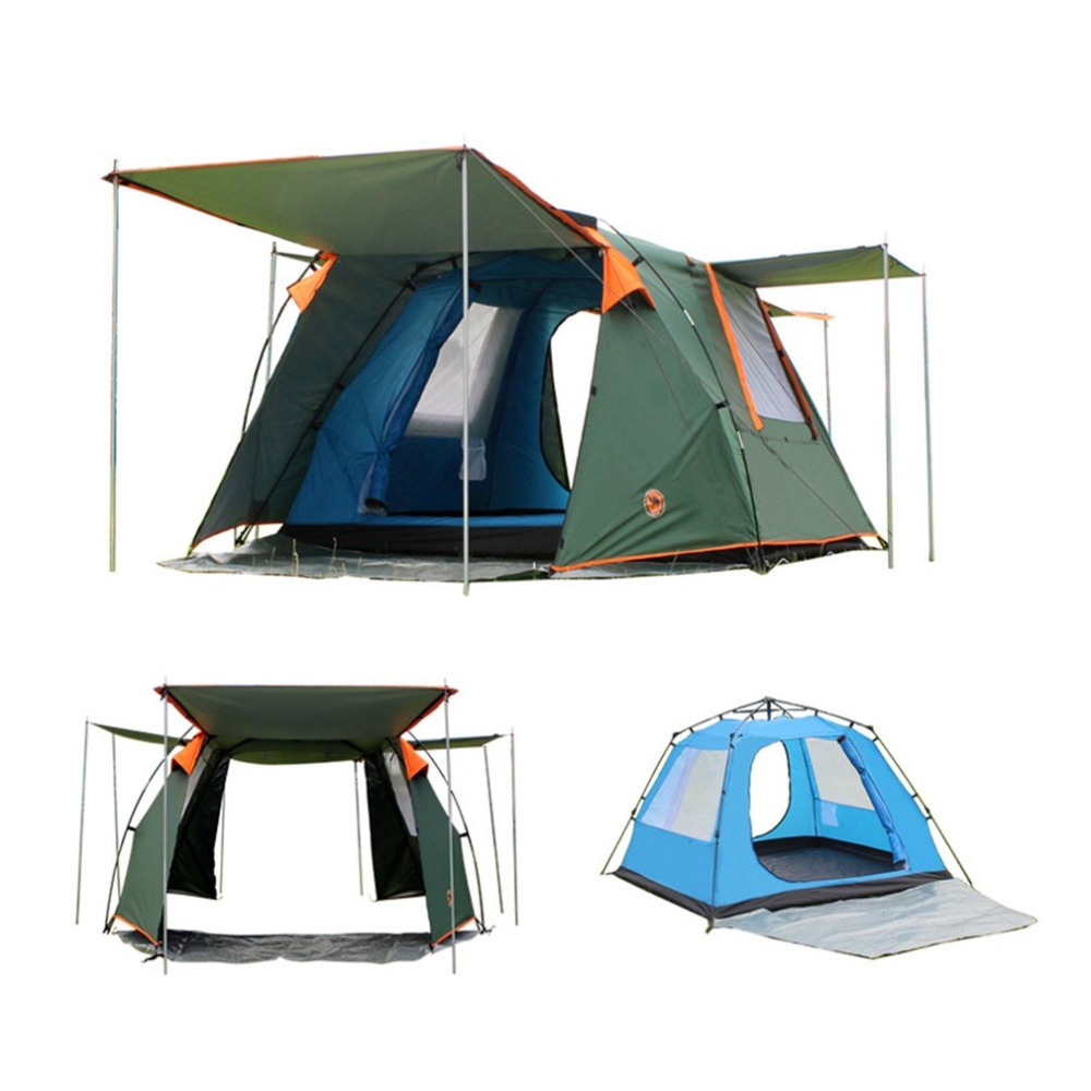 DESERTCAMEL CS088 Fully Automatic Double Layers Tent Dual Doors Square Roof Tent With Breathable Mosquito Net For 4 Persons