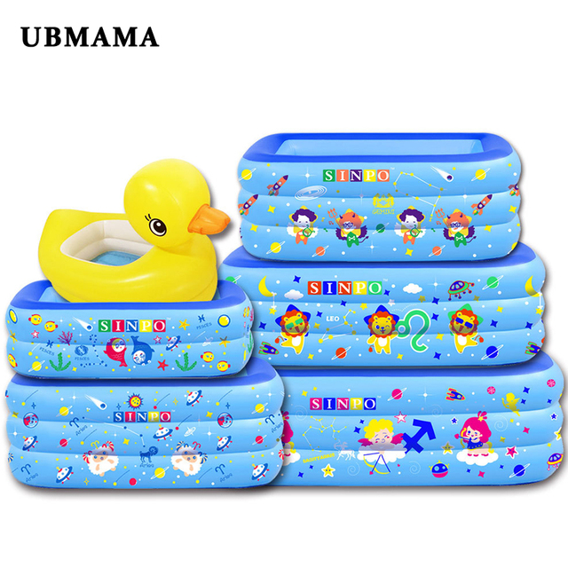 Rectangular Child Inflatable Swimming Pool Thickened plastic PVC Baby Cartoon Bathtub Inflatable Bottom Bathroom Tub