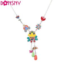 Bonsny Maxi Alloy Frog Flower Necklace Chain Enamel Jewelry Colorful Pendant 2017 New Fashion Jewelry For Women Statement(China)