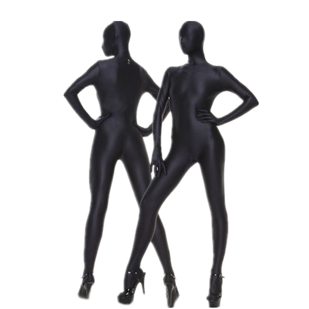 Black Lycra Spandex Costumes Unisex Fetish Zentai Suits Halloween Party Full Body Second Skin Suit Free Shipping