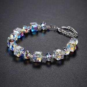 Image 3 - MALANDA marque cristaux carrés de Swarovski Bracelets Bracelets de mode en argent Sterling Bracelets Bracelets pour femmes bijoux cadeau