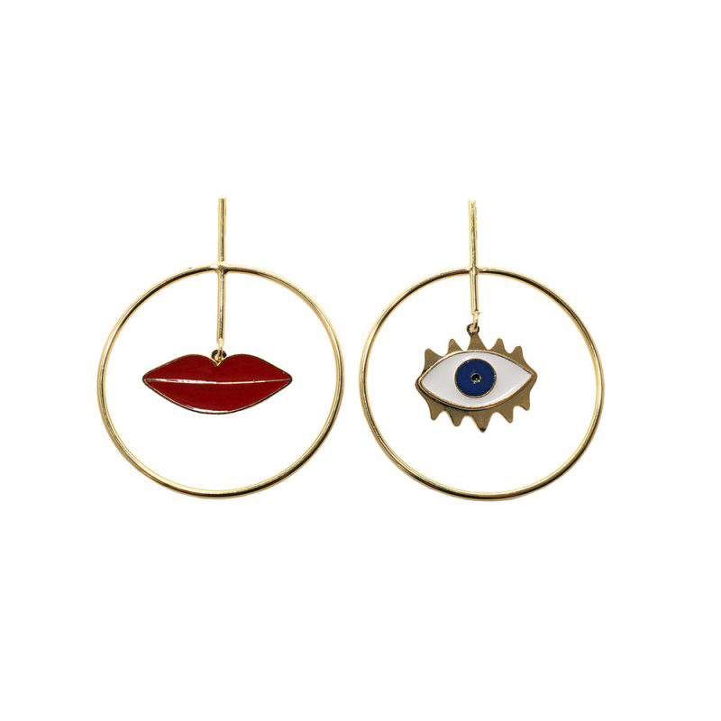Earrings Punk-Style Bohemia Women New-Fashion With Red Lip Circle Female Celebrities