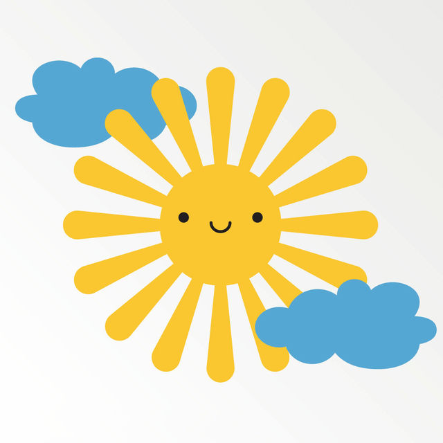 Online Shop Smiling Sun Clouds Wall Stickers For Kids Room Baby Wall ...
