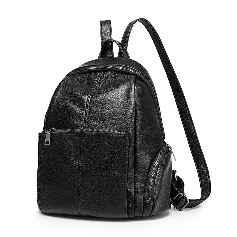 2017 Women soft Genuine Leather Backpack vintage backpacks for teenage girls school bags high quality ladies