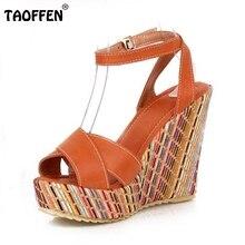 Taoffen/женские новые клин Обувь на высоком каблуке Модные женские сексуальные каблуки сандалии P1705 горячий стиль размер 34-39 заводская цена