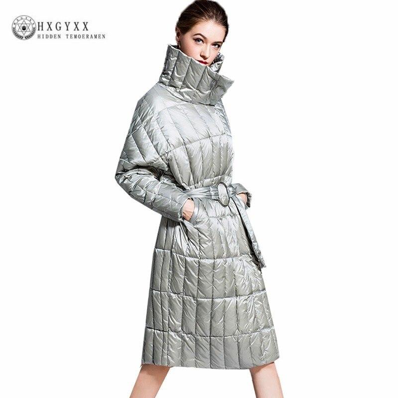 Одноцветное Цвет теплый белый на утином пуху пальто зимняя куртка Для женщин свет Парка на пуху 2019 плюс Размеры ремень Свободная верхняя од
