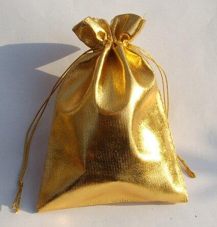5d2321eeb Llegan nuevos al por mayor 100 unids/lote clásico 13x18 cm oro regalo  embalaje caramelo organza Bolsas joyas Navidad regalo bolsas