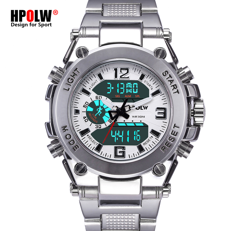 HPOLW Men Sports Watches Chronograph Military Digital Multi-Functions Wristwatches New Steel Montre Homme Erkek Saat 3 way pilot solenoid valve vqz232 6l1 c4