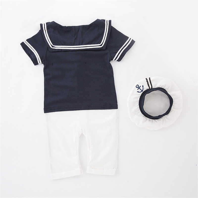 604c3f098bc5d ... Summer Unisex Baby Clothes Kids Sailor Costume with Hats Navy Baby Boy  Romper Cotton Short Sleeve ...