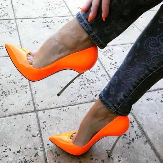 Moraima Snc Sexy Pointed Toe High Heel Shoes Orange Patent Leather Slip On Stiletto Heels Woman Thin Heels Party Shoes