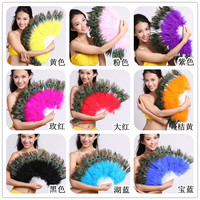 NEW 5pcs Quality Dance peacock Feather Fan for Belly Dance Halloween Party Ornament Necessary 28 Bones Fan stage performance