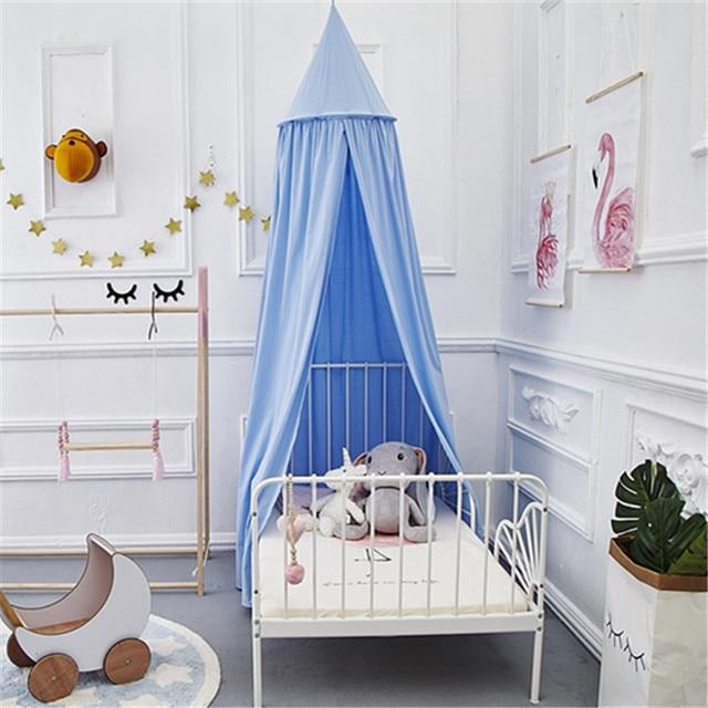Light Blue Cotton Bed Kids Canopy Baby Hanging Tent Crib Children Room Nursery Decor