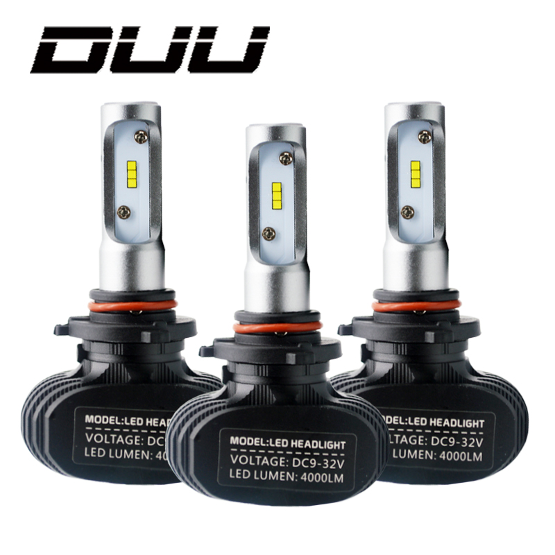 цена на DUU 2Pcs 9005 HB3 9006 HB4 H11 H4 H7 Led H1 Auto Car Headlight S1 N1 50W 8000LM 6000K Automobile Bulb CSP Lumileds La