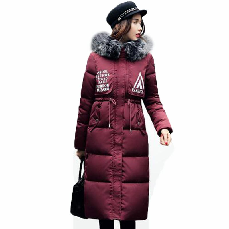 2017 Women Winter Coats with fur Collar Basic Hooded Jacket Ladies Outerwears Drawstring Slim Cut Women Outfits Overcoats QH0404