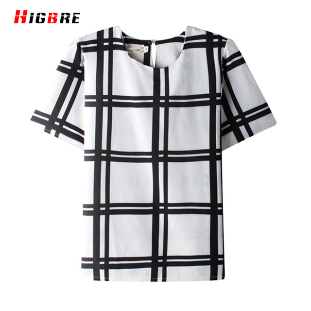 New Temperament Stripe Black And White Shirt Summer Women Ladies Short Sleeve Chiffon Shirts To Large Size Casual T-shirt Femmes