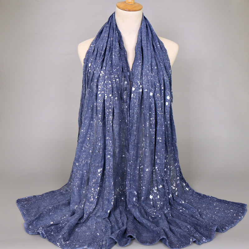 Big Size Plain Glitter Shiny Dot Viscose Shawl Solid Color Silver Muffler Wrap Headband Muslim Hijab Snood Echarpe Foulard Femme