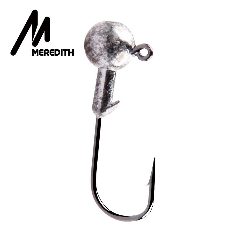MEREDITH 50 piezas a la cabeza de la plantilla gancho de pesca 1,5g-14g Jig ganchos para suave señuelo de pesca carbono de acero de anzuelos