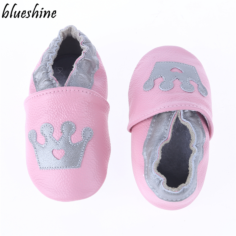 Lovely Styles Of Crown Genuine Leather Baby Girls Soft Shoes Infant Booties Baby Boys First Walker Shoes Cow Leather Bebe Shoes