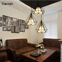 Modern Art Pyramid Nordic Iron Diamond Pendant Lights Black Birdcage Ceiling Pendant Lamps Home Decorative Light