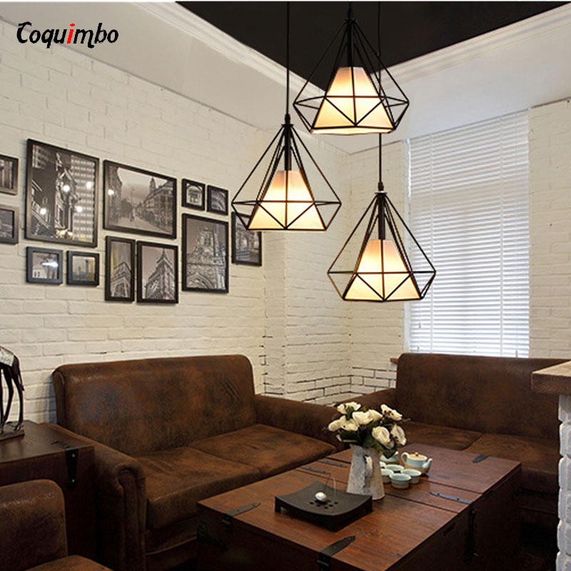 Modern Art Pyramid Nordic Iron Diamond Pendant Lights Black Birdcage Ceiling Pendant Lamps Home Decorative Light Fixture цена
