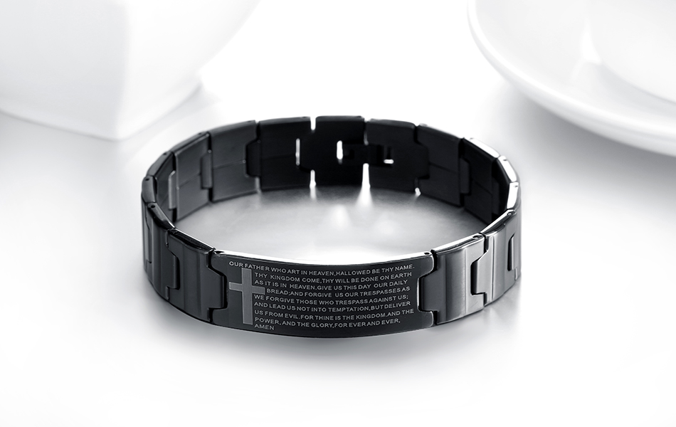 KISS MANDY Black Color Cross Religious Bracelet with Bible Verses Men Stainless Steel Bracelet FB83 7