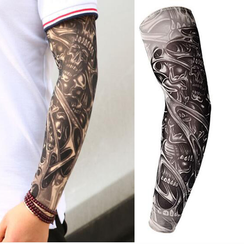 Free Shipping 3D Print Fake Tattoo Sleeves Men Women Summer UV Sun Protection Cool Cycling Sleeves S, L Lahore