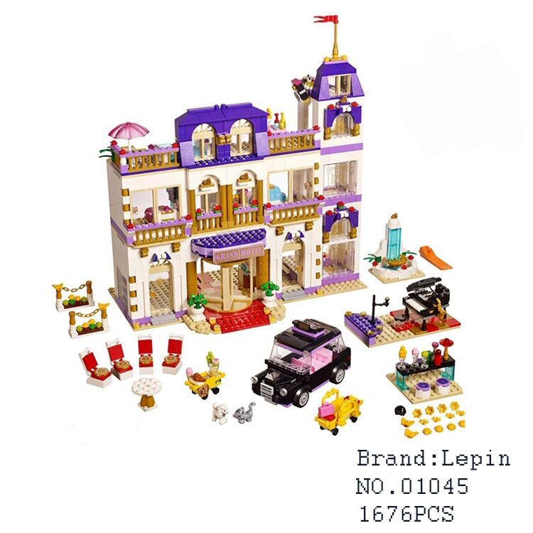 Lepin 01045 1676Pcs Girls Series The Heartlake Grand Hotel Model set Building Blocks Bricks Eucational toys for girlsGifts 41101 for iphone 7 plus 5 5 inch glossy tpu cellphone case with cartoon pattern bunny