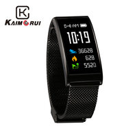 Kaimorui Smart Bracelet IP68 Waterproof Colorful Screen Pedometer Heart Rate Monitor Stainless Steel Band Bluetooth Wristband
