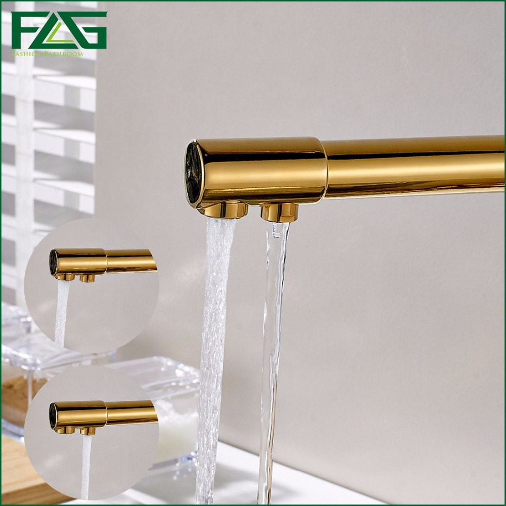 FLG 100% Copper Gold Finished Swivel Drinking Water Faucet 3 Way ...