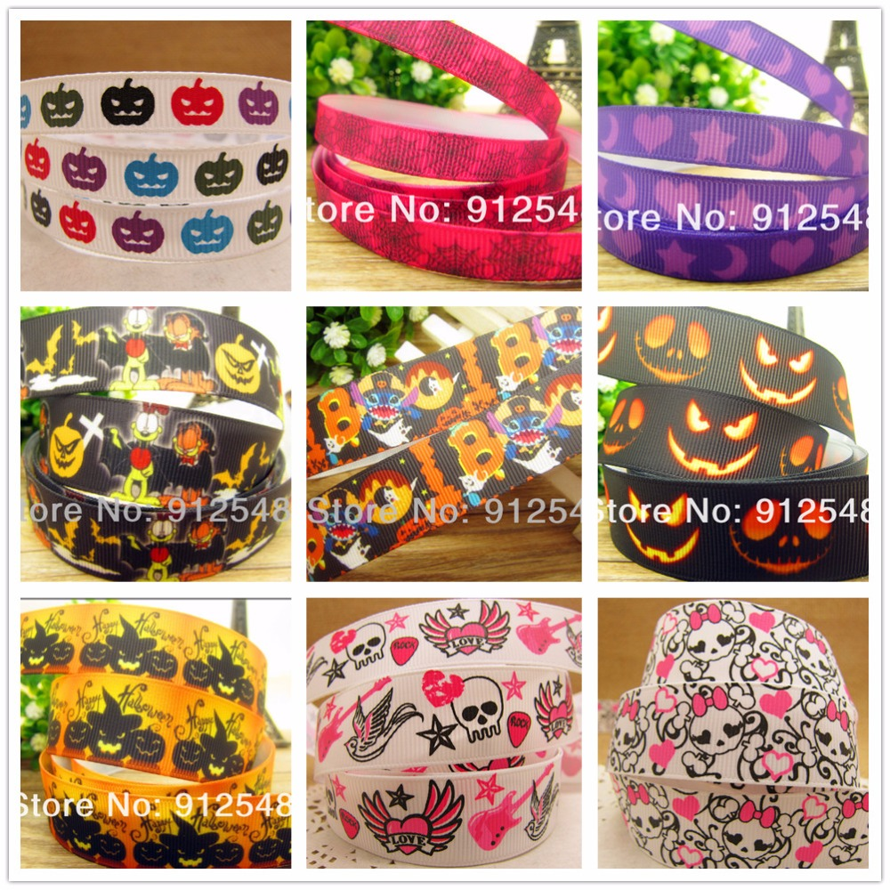 free shipping <font><b>7/8</b></font>'' (22mm) <font><b>Halloween</b></font> printed <font><b>Grosgrain</b></font> <font><b>ribbon</b></font> Polyester cartoon <font><b>Ribbon</b></font> haribow accessory gift pack,wm2727 image