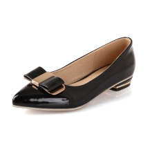 ARMOIRE Brand New Women Casual Pumps Black Pink Apricot Ladies Glossy Shoes Low Heels AWM-4 Bowtie Plus Big Size 10 43
