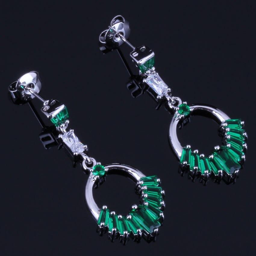 Sparkling Green Cubic Zirconia White CZ 925 Sterling Silver Drop Dangle Earrings For Women V0734 in Drop Earrings from Jewelry Accessories