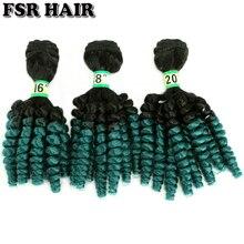 FSRHAIR 70 гр./шт. Черный-зеленый афро Фунми вьющиеся волосы пучок синтетических волос для наращивания Омбре волосы продукт