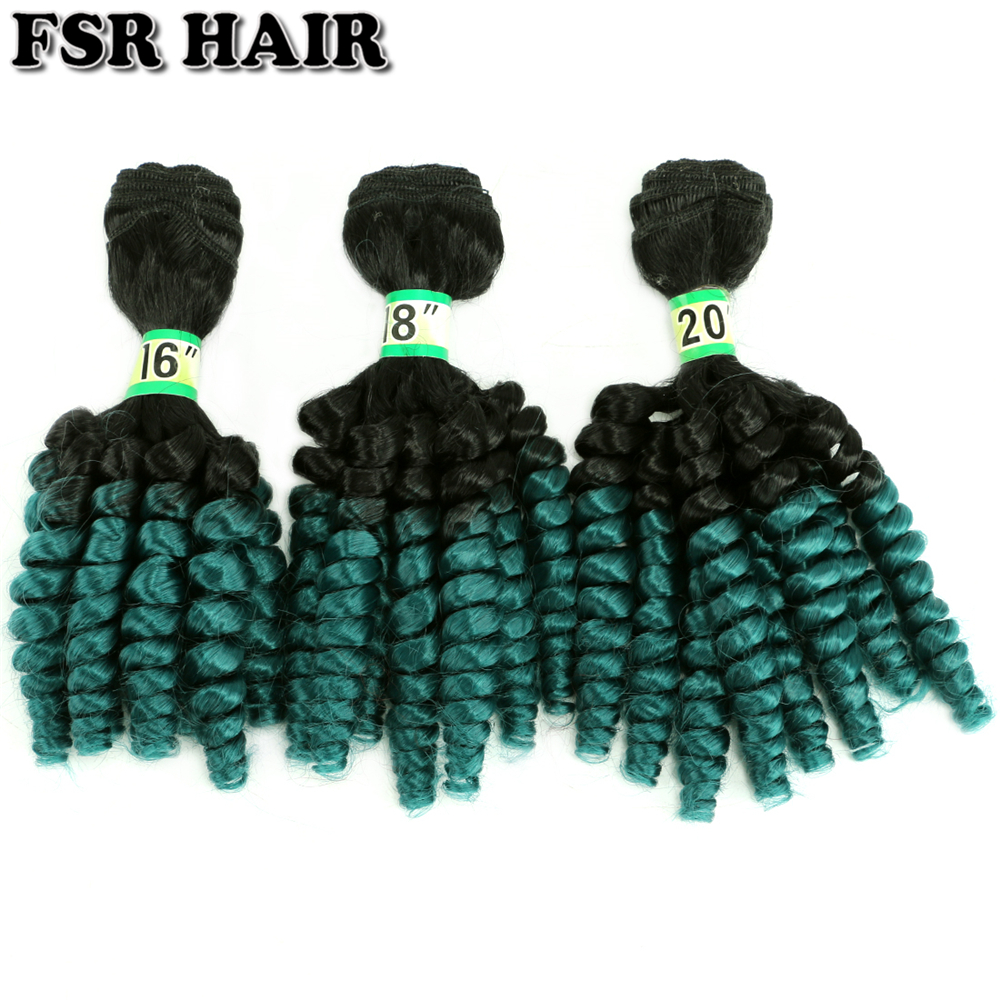 FSRHAIR 70 Gram/Pieces Black To Green Afro Funmi Curly Hair Bundle Synthetic Hair Extension Ombre Hair Product