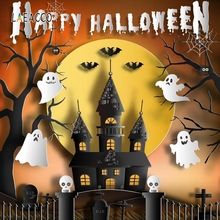 Laeacco Halloween Party Photography Backgrounds Customized Black Castle All Saints Day Photographic Backdrops for Photo Studio