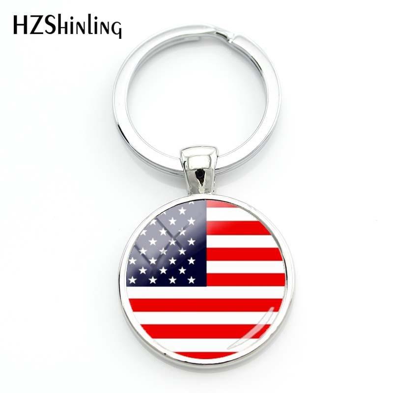 2018 Fashion Usa American Flag Keyrings For A Woman Bag Surinam Flag Key Chain Women Turkish Flag Glass Cabochon Keychain