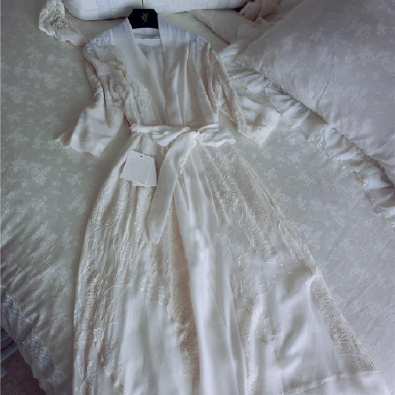 Autumn Spring Women s Luxury Deep V Soft Silk Robes Three Quarter Sleeve Floral Nightgowns Home