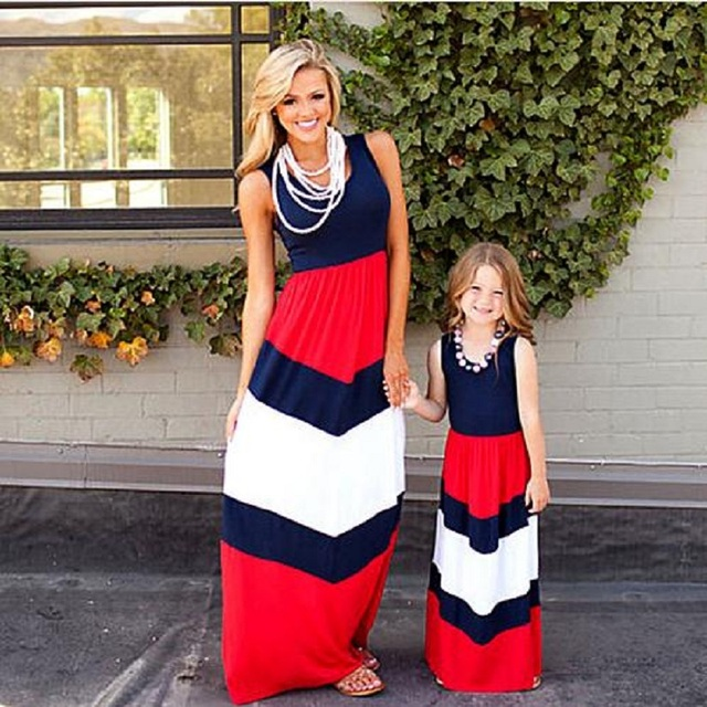 aa14776054473 Mama girls Mother daughter dresses mommy baby Maxi dress mommy and me  clothes Stripe Bohemian Summer family clothing Outfits
