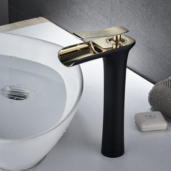 ORB Black Golden bathroom faucets basin Sink Mixer faucets Waterfall tall high bathroom sink Mixer Tap single handle