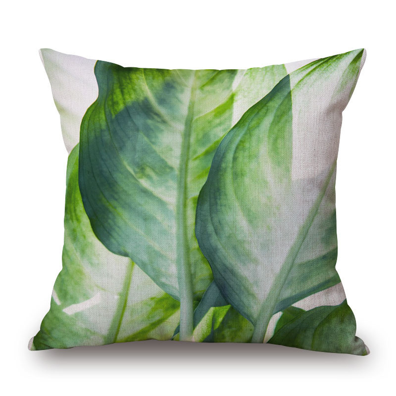 Tropical Plants Home Decorative Pillow Cover Hand Painted Green Leaves Sofa Office Pillow Cushion Cover Lumbar Pillow Cover in Cushion Cover from Home Garden